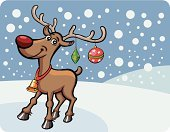 Reindeer,Christmas Card,Rudolph The Red-nosed Reindeer,Winter,Characters,Vector,One Animal,Retro Revival,Holiday,Animal,Snow,Christmas,Season,Celebration,Deer,Horned,Cartoon,Animals In The Wild,Animal Nose,Snowflake,Decoration,red nosed,Cheerful,Full Length,Outline,Smiling,Humor,White,Ilustration