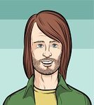 Beard,Human Hair,Men,Long Hair,One Person,Caucasian Ethnicity,Smiling,Head And Shoulders,Human Head,Isolated,Clip Art,Adult,Human Teeth,Cheerful,Ilustration,Shirt,Human Face,People,Characters,Vector,Cartoon,Male,Young Men,Young Adult
