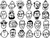 Men,Doodle,Line Art,Cartoon,Human Head,Confusion,Human Face,Eyeglasses,Completely Bald,Beard,Terrified,Smiling,Grimacing,Fear,Facial Expression,Collection,Screaming,Shouting,Bossy,Emotion,Isolated,Displeased,Pirate,People,Overweight,Negative Emotion,Humor,Cheerful,Retro Revival,Furious,Frowning,Vector,Sketch,Ilustration,Emoticon,Laughing,Frustration,Positive Emotion,Set,Serious,Sunglasses,Black And White,Sadness,Shock,Caricature