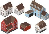 Garage,House,Door,Roof,Window,Chimney,Isometric,Suburb,Balcony,Blue,Residential Structure,Villa,Brick,White,Red,Wood - Material