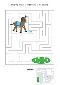 Maze,Leisure Games,Mystery,Child,Ilustration,Donkey,Activity,Help,Searching,Animals Feeding,Grass,Vector,Footpath,Puzzle,Pasture,Discovery,Assistance,Fun