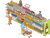 Isometric,Supermarket,Store,Shopping,Retail,Shelf,Customer,People,Merchandise,Consumerism,Packaging,Groceries,Shopping Mall,Food,Wine Bottle,Wine,Part Of,Market Stall,Women,Shopping Cart,Sales Occupation,Alcohol,Arranging,Office Interior,Market,Shopping List,Buying,Organic,Billboard,Men,Full,Eating,Gross Market,Sale,Bottle,Stack,Drink,Box - Container,Advertisement,Rack,Olive Oil