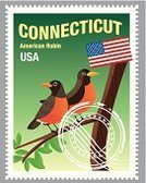 American Robin,The Americas,Bird,Animal,USA,American Flag,Vector,Postage Stamp,Rubber Stamp,Connecticut