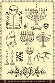 Drawing - Art Product,Design,hand drawn,Decorative Frame,Candle,Lion - Feline,Star Of David,Candlestick Holder,Menorah,Judaism,Sketch