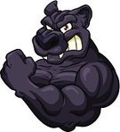 Black Leopard,Flexing Muscles,Strength,Isolated,Smiling,Black Color,Ilustration,Characters,Vector,Mascot,Cartoon