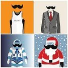 Shirt,Red,Mustache,People,Space,Cool Look,Sport,Astronaut,Fashion,Vector,Ilustration,Abstract,Santa Claus
