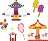 Amusement Park,Cotton Candy,Carousel,Amusement Park Ride,Clip Art,Flavored Ice,Entertainment,Balloon,Swing,Fun,Isolated On White,Leisure Activity,Vector,Ilustration,Luna Park - Sydney,Kiosk