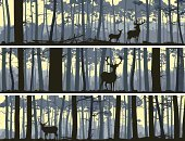 Forest,Silhouette,Deer,Vector,Pine Tree,Woodland,Landscape,Placard,Animal Themes,Cedar Tree,Mountain,Banner,Tree,Ilustration,Doe,Stem,Animals In The Wild,Wildlife,Dusk,Herd,Hill,Horizontal,Urban Skyline,Horizon Over Land,Horned,Panoramic,Set,Nature,Backgrounds,Cartoon,Abstract,Scenics,Elk,Bookmark,Tree Trunk,Female Deer,Horizon,Non-Urban Scene
