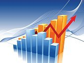 Chart,Graph,Finance,Bar Graph,Three-dimensional Shape,Computer Graphic,Diagram,Data,Making Money,Growth,Vector,Success,Arrow Symbol,Blue,Moving Up,Digitally Generated Image,New Business,Ideas,Improvement,Concepts,Striped,Inspiration,Design,Multi Colored,Shiny,Reflection,Clean,Sparse,Modern,Empty,Illustrations And Vector Art,Business