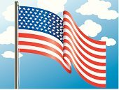 American Flag,Flag,Flying,American Culture,Waving,Patriotism,USA,Hanging,Star Shape,Rural Scene,Striped,Concepts And Ideas,Illustrations And Vector Art,Character Traits,nation,Pride,North America,Non-Urban Scene