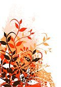 Flower,Red,Floral Pattern,Orange Color,Vector,Retro Revival,1940-1980 Retro-Styled Imagery,Backgrounds,Brown,Drawing - Activity,Springtime,Drawing - Art Product,Design,Scratched,Beauty In Nature,Stained,Abstract,Nature,Leaf,Color Gradient,Scroll Shape,Lush Foliage,Ornate,Nature,Plant,Silhouette,Overlapping,Illustrations And Vector Art,Plants,Branch,Vertical,Curled Up,Art,Curve,Old-fashioned,Color Image