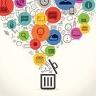 Design Element,Education,Basket,Garbage,Technology,Business,Symbol,Industry,Sign,Collection,The Media,Group of Objects,Computer Icon,Communication