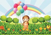 Computer Graphics,People,Image,Freshness,Celebration Event,Plant,Blue,Red,Yellow,Multi Colored,Rectangle,Striped,Tree,Wind,Leaf,Hill,Sunbeam,Blowing,Computer Graphic,Adult,Illustration,Celebration,Women,Vector,Helium Balloon,Hydrogen,Helium