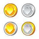 Silver - Metal,Gold,Love,Heart Shape,Coin,Vector