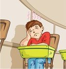 Child,Little Boys,Desk,Student,Boredom,Frustration,Distracted,Classroom,Chair,Learning,Add,attention deficit hyperactivity disorder,Learning Disability,Tired,Loneliness,Day Dreaming,Looking,Cartoon