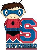 Funky,Characters,Heroes,Vector,Ilustration,Letter S,Single Word,Teaching,Fun,superboy,Superhero,Spider Web,Digitally Generated Image,Mask,Power,Alphabet,Clip Art,Cute,Smiling,Flying,Belt,Cape,Disguise,Cartoon,Computer Graphic,Learning,Suit,webbing,Brown Hair,Education,One Person,Strength,Crime Fighter
