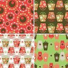 Polka Dot,Holiday,seamless pattern,Christmas,Ribbon,Retro Pattern,Seamless,Gift Box,Package,Pattern,Backgrounds,Silver Colored,Circle,Red,Green Color,Gift