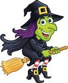 Broom,Halloween,Green Color,Smiling,Witch