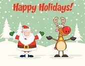 Animal,Santa Hat,Santa Claus,Mascot,Celebration,Bell,Painted Image,Reindeer,Men,Holiday,Arms Outstretched,Cheerful,Male,Digitally Generated Image,Holidays And Celebrations,Happiness,One Person,Backgrounds,Multi Colored,Vector Cartoons,Vector,Clip Art,Wildlife,Design,Text,Ilustration,Animals In The Wild,Snow,Image,Cartoon,Color Image,Computer Graphic,Smiling,Paintings,Drawing - Art Product,Image Type,Joy,Illustrations And Vector Art,Hat,Holidays And Celebrations,Humor,Christmas,Pattern,Isolated On White,Characters