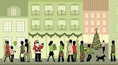 Shopping,Christmas,Retail,Women,Urban Scene,Sidewalk,Crowded,Men,Walking,People,Santa Claus,Christmas Tree,Child,Town Square,Customer,House,City,Store,Window,Gift,Silhouette,Crowd