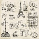 Cafe,France,Europe,Cheese,Famous Place,Macaroon,Ilustration,Vector,Wineglass,Ornate,Decor,Croissant,Restaurant,Bakery,Baking,Journey,Love,Pattern,Vacations,Romance,Backgrounds,Dessert,Greeting,Baguette