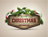 Wood - Material,Christmas,Snow,Label,Old-fashioned,Pine Tree,New Year's Eve,Holiday,Design Element,Panel,New Year's Day,New Year,2014,Sphere,Backgrounds,Branch,Colors,Textured,White,Green Color,Typescript,Snowflake,Ilustration,Shadow,Winter,Decoration,Greeting Card,Season,Text,Design,Message,Abstract,Vector,Symbol,Celebration,Banner,Billboard,Isolated
