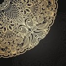 Lace - Textile,Backgrounds,Black Color,Gold Colored,Ethnic,Elegance,Floral Pattern,Ilustration,Arabic Style,Abstract,Vector,Circle,Decoration,Pattern,Ornate,Baroque Style,Retro Revival,Dark,Computer Graphic,Greeting Card,Art,Curled Up,Curve,Victorian Style,Leaf,Old-fashioned,Luxury,filigree
