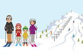 Family,Recreational Pursuit,Ski Slope,Winter,Ski Resort,Ilustration,Leisure Activity,Skiing,In A Row,Ski Lift,Day,Season,Four People,Tourist Resort,Little Boys,Cheerful,Father,Little Girls,Ski Pole,Ski-Wear,Cute,Winter Sport,Wellbeing,Snowcapped,Ski,Ski Goggles,Copy Space,Fun,Mother,Offspring,Outdoors,Full Length,Lifestyles,Freshness,Vacations,Nature,Snow,Smiling,Clear Sky,Outdoor Pursuit,Standing,Enjoyment,Sport,Christmas,Vector