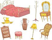 Closet,Bed,Electric Lamp,Furniture,Old Furniture,Coat Stand,Clip Art,Vintage Furniture,Victorian Style,Computer Graphic,Ottoman,Vector,Antique,Ilustration,Vase,Coat Hook,Cut Out