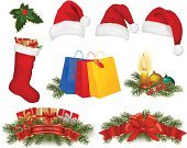 Icon Set,Christmas,Santa Hat,Clip Art,Gift,Vector,Ilustration,Color Image