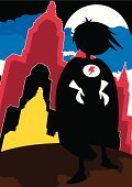 Silhouette,Characters,Heroes,Vector,Ilustration,Superhero,Moonlight,Building Exterior,Urban Scene,Suit,Clip Art,Cityscape,Built Structure,Shadow,Cloud - Sky,Disguise,Cartoon,Roof,Moon,Urban Skyline,City,Crime Fighter,superboy,Power,Strength,Standing,Comic Book,Skyscraper,One Person,Glove,Cape