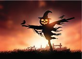 Scarecrow,Halloween,Corn - Crop,Spooky,Horror,Landscape,Sunset,Vector,Trick Or Treat,Evil,Ilustration,happy halloween,Jack O' Lantern,Symbol,Field,Autumn,Concepts,Crow,Season,October,Crop,Dark,Pumpkin,Backgrounds,Lantern
