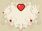 Rose - Flower,Valentine's Day - Holiday,Heart Shape,Love,Romance,Swirl,Floral Pattern,Gift,Vector,Scroll Shape,Backgrounds,Red,Beige,Ilustration,Holidays And Celebrations,Valentine's Day,Illustrations And Vector Art,No People,Copy Space,Color Image