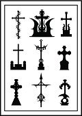 Cemetery,Goth,Symbol,Isolated On White,Silhouette,Halloween,Gothic Style,Vector,Tomb,Computer Graphic,Shape
