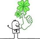 Four Leaf Clover,OK Sign,Human Hand,Cheerful,Men,Businessman,Cartoon,Characters,Ilustration,Black Color,Leaf,Thumb,White Background,Single Line,Luck,Green Color,Profile View,Drawing - Art Product,White,Concepts,Success,Humor,Clover