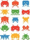 Video Game,Amusement Arcade,Computer Icon,Pixelated,Monster,Retro Revival,Space,invader,8bit,Alien,Vector,Robot,Toy