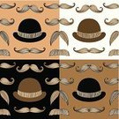 Seamless,Bowler,Hipster,Backgrounds,Repetition,Hat,Ilustration,Vector,Movember,Set,Retro Revival,Incomplete,Men,Old-fashioned,Wallpaper,Wallpaper Pattern,Dandy,Beard,Mustache,Pattern,British Culture,Black And White,Brown