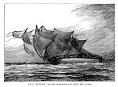 Shipwreck,Engraved Image,Old,The Past,Obsolete,Ilustration,History,Royal Navy,Disaster,Wreck,Navy,Natural Disaster,Sailing Ship,Eurydice,Hms Eurydice,Historical Ship,Water,19th Century Style,British Military,Retro Revival,Mode of Transport,Old-fashioned,Styles,Black And White,Armed Forces,Storm,Sea,Victorian Style,Military,Antique,Crash,Woodcut,Image Created 19th Century,Print,Natural Phenomenon