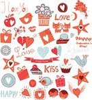 Birthday,Wedding,Lipstick Kiss,Doodle,Valentine's Day - Holiday,Anniversary,Celebration,Bumper Sticker,Box - Container,Cookie,Heart Shape,Romance,Cake,Candy,Gift Box,Bird,Domestic Cat,Love,Bouquet,Flower,Happiness
