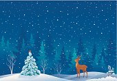 Snow,Christmas,Non-Urban Scene,Christmas Card,Deer,Tree,Blizzard,Animal,Winter,Woodland,Snowdrift,Night,Christmas Tree,Robin,Evergreen Tree,Landscape,Backgrounds,Greeting Card,Tranquil Scene,Vector,Cartoon,Ilustration,Forest,Young Animal,Environment,Copy Space,Holiday,Bird,Wildlife,Reindeer,Snowing,Blue,Clip Art,Coniferous Tree,Season,Spruce Tree,Cute,Beauty In Nature,Outdoors,Frost,Horizontal,Drawing - Art Product,Sky,Plant,Scenics,Bullfinch,Fir Tree,Nature