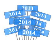2014,Sign,Plate,Isolated,New Year,Ideas,Blue,New Year's Day,Banner,Concepts,White