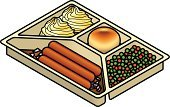 Bread,Sausage,Dinner,Food,defrost,Prepared Potato,Cooking,Isometric,Lunch,Carrot,Meal,Biscuit,Convenience,Gravy,Frozen,Scone,Green Pea,Three Dimensional