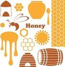 Beehive,Honey,Hexagon,Sign,Bee,Jar,Symbol,Liquid,Insect,Old-fashioned,Orange Color,Isolated,Yellow,Icon Set,Sweet Food,Barrel,Vector,Food,Design Element,Set,Design,Keg,Abstract,Splashing,Healthy Eating,Bizarre