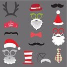 Santa Claus,Christmas,Mustache,Shape,Human Lips,Humor,Beard,Wedding,unisex,Costume,Eyeglasses,Hat,Human Face,Scrapbook,Birthday,Personal Accessory,Clothing,Scrapbooking,Invitation,Fashion,Fun,Collection,Vector,Backgrounds