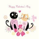 Domestic Cat,Valentine Card,Color Image,Ilustration,Vector