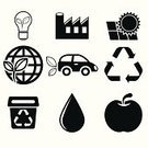 Vector,Symbol,Environment,Carbon Dioxide,Garbage,Recycling,Sustainable Resources,Factory,Car,Tree,Nature,Leaf,Drop,Planet - Space