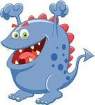 Animal,Monster,Alien,Cute,Ilustration,Cartoon,Demon,Characters,Spotted,Devil,Vector,Mascot,Fun,Blue,Cheerful,Beast,Humor,Happiness,Waving,Anger,Smiling