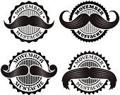 Movember,Mustache,Black Color,Facial Hair,Set,Variety,White,Variation,Vector,Ilustration,Collection,Badge,Star Shape