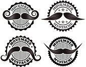 Movember,Facial Hair,Black Color,Mustache,Set,Variety,White,Variation,Vector,Ilustration,Collection,Badge,Star Shape