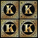 Gold,Square Shape,Gold Colored,Letter K,Sign,Design,Luxury,Classical Style,Curve,Circle,Set,Icon Set,Label,Digitally Generated Image,Yellow,Ilustration,Black Background,Black Color,Old-fashioned,Vector,Group of Objects,Alphabet,Collection,Obsolete,Frame